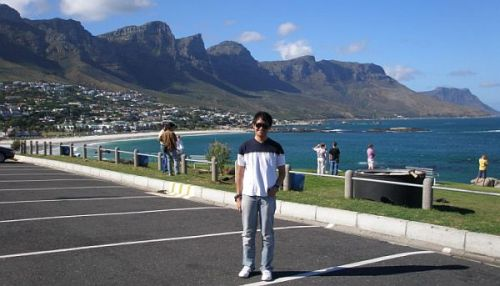 Ambar Hamid at the Twelve Apostles in Cape Town